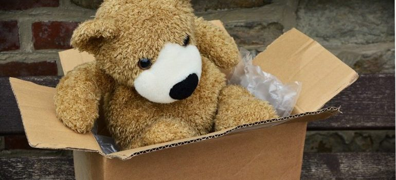A teddy bear in a box - our movers Dania Beach FL can pack your things for you