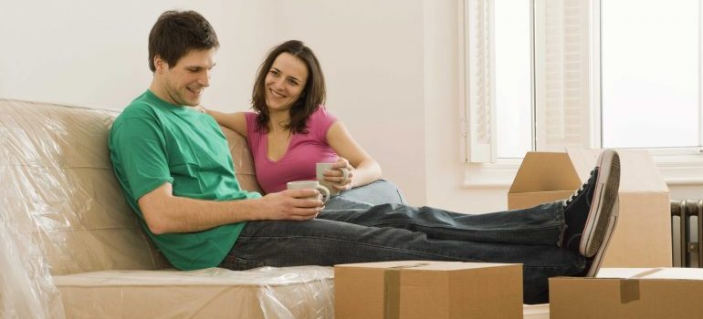 Couple relaxing during the packing process