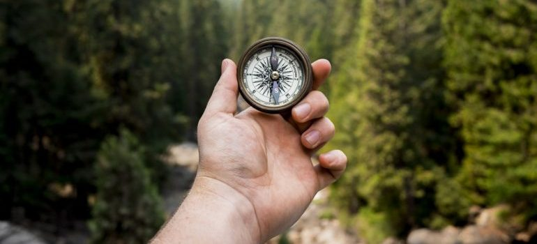 A man with a compass