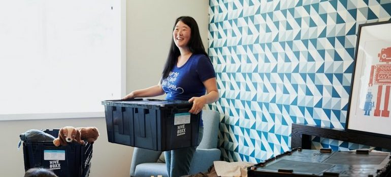 A woman relocating