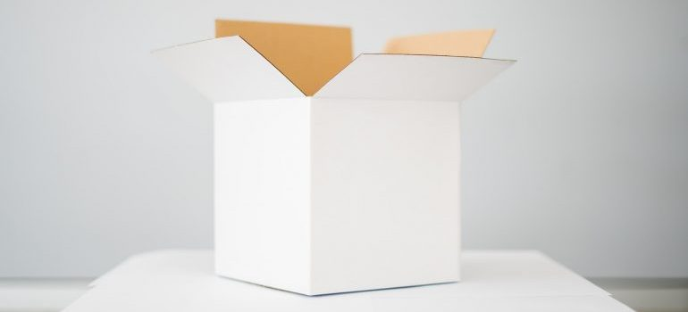 White cardboard box ready to pack toys when moving