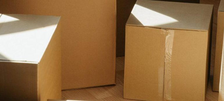 several cardboard moving boxes