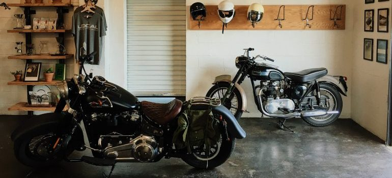 Two motorcycles in garage